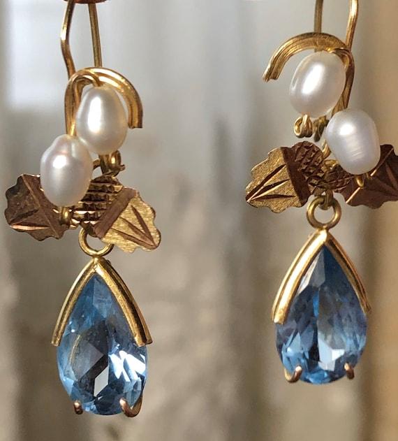Art nouveau blue earrings
