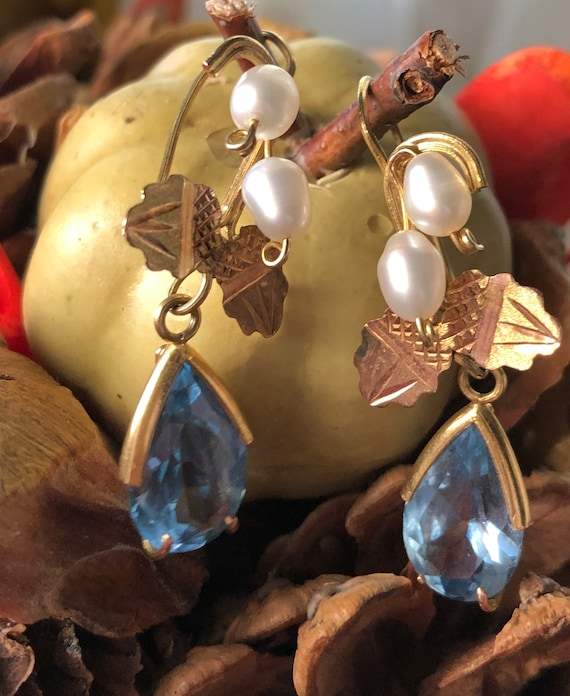 Art nouveau blue earrings
