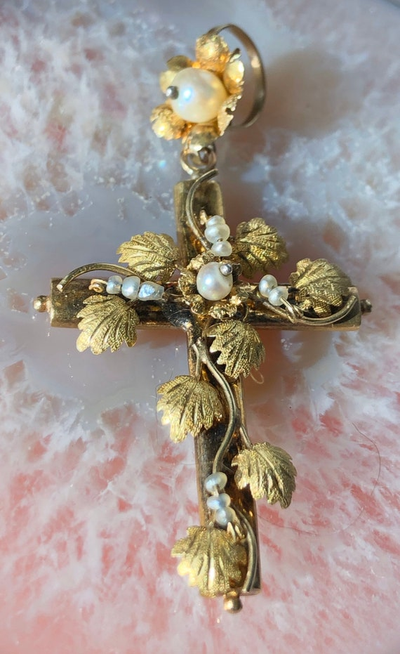 Vintage handmade gold and pearl cross pendant - image 5