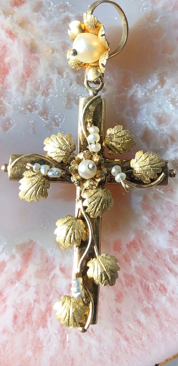 Vintage handmade gold and pearl cross pendant - image 6