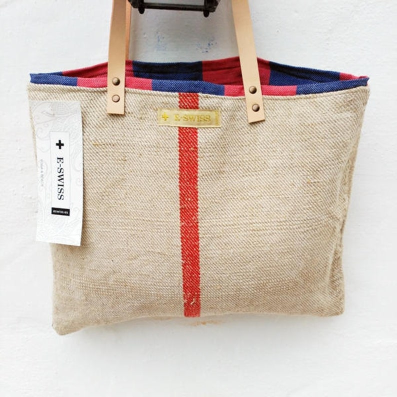 c9d9e27a4bb3 Grain Sack Shoulder Bag inside Turkish cotton   Blue stripes
