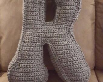 Alphabet pillow, decorative children's baby pillow Crocheted Alphabet Pillow Custom letter & colour