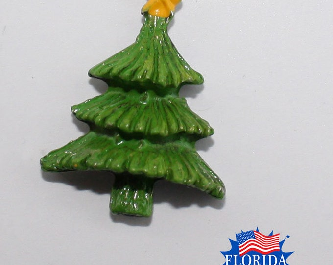 Christmas Tree Hat Pin in green and gold