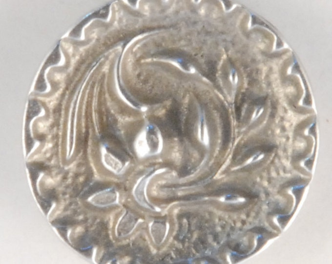 Floral Pewter Button with Ornate Rim