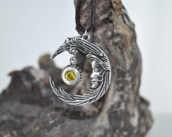 Moon and star, two sided gemstone pendant . All hand made in the USA.