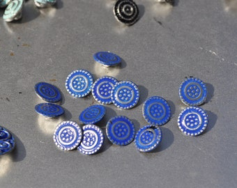 Unique blue painted  blouse buttons hand made of Pewter and finished in the USA