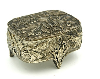 Silver Spelter Jewelry Box, Mid Century Footed Small Casket Jewelry Trinket Box, Presentation Engagement Box, Red Velvet Lining, Valentine