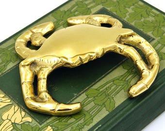 Brass Crab Paperweight, Solid Brass Crab Figurine, Beach Cottage Hollywood Regency Decor, Ocean Life, Beach Office Decor, Brass Fiddler Crab