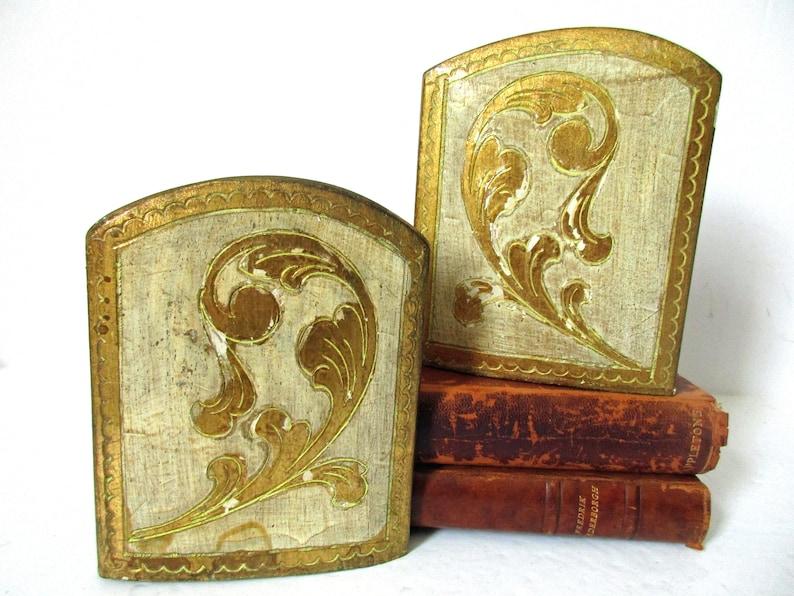 Vintage legno fiorentino bookends italian fiorentina etsy