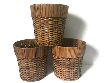Vintage Woven Plant Basket, Wicker Bamboo Reed Baskets, Jungalow Boho Eclectic Decor