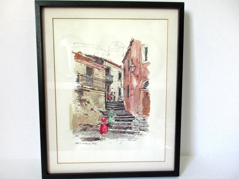 Village Street Castamola Sicily Italy Foote Mid Century Art Old Italy Street Art Framed Watercolor Print Sicily