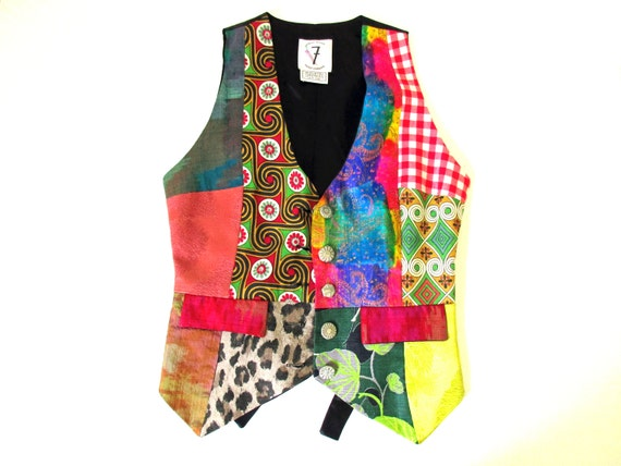 Todd Oldham Patchwork Vest, FREE SHIPPING, Size Sm