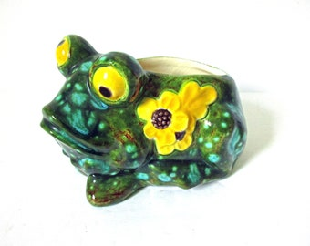 Frog Sponge Holder Caddy, Kitchen Sink Sponge Pottery Ceramic Frog, Retro Vintage Pond Life, Green Turquoise Yellow Frog Toad, Crazy Eyes