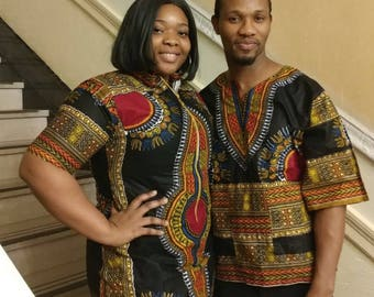 f7f8bd97e Black dashiki couple outfit/new african fashion/trendy couple wear/African  high fashion/summer couple wear/Unisex African wea