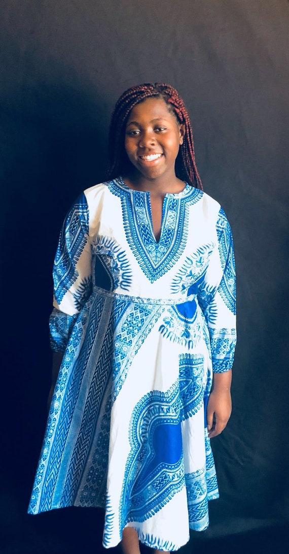 Outfits Woman fabric Dress print African Clothing Dress Blue Dashiki African African Ankara Dress African OqvEUwf