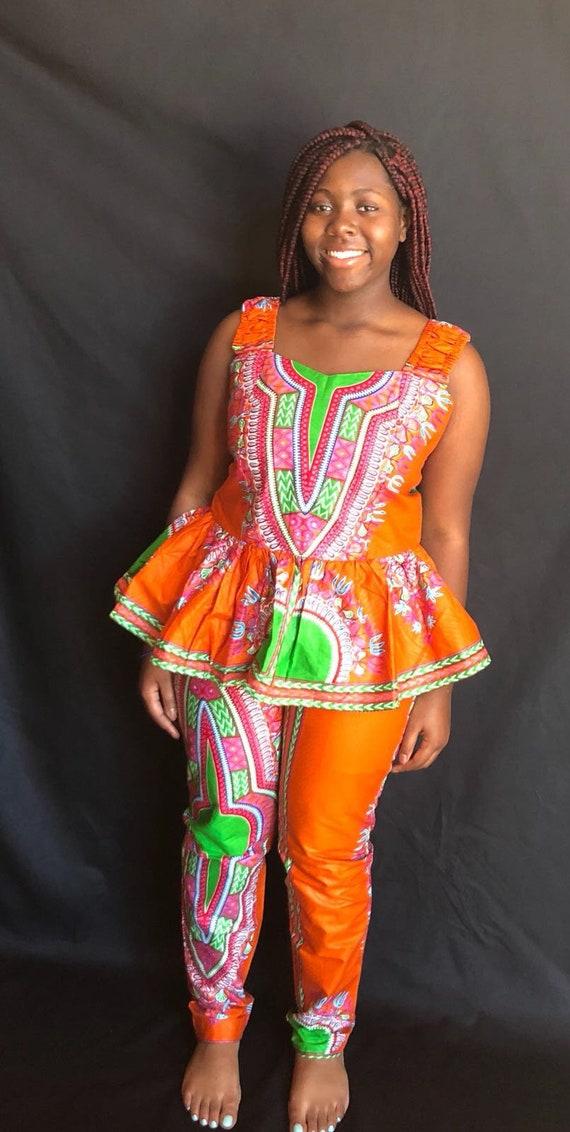 african women dashiki clothing,ankara peplum top and pant,african peplum top and pant,red african print two piece clothing,African dress set