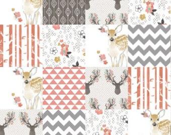 Fawn baby girl quilt, floral antlers quilt, pink gray nursery, woodland nursery, woodland girl quilt, deer quilt, nature quilt, deer bedding