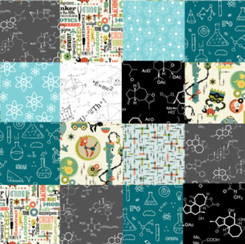 robot quilt baby nursery baby quilt atoms and molecules science quilt personalized quilt boy teal and gray quilt