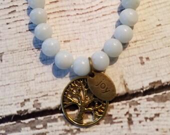 Amazonite Tree of life with Joy Charm Healing Bracelet by DBLorgan
