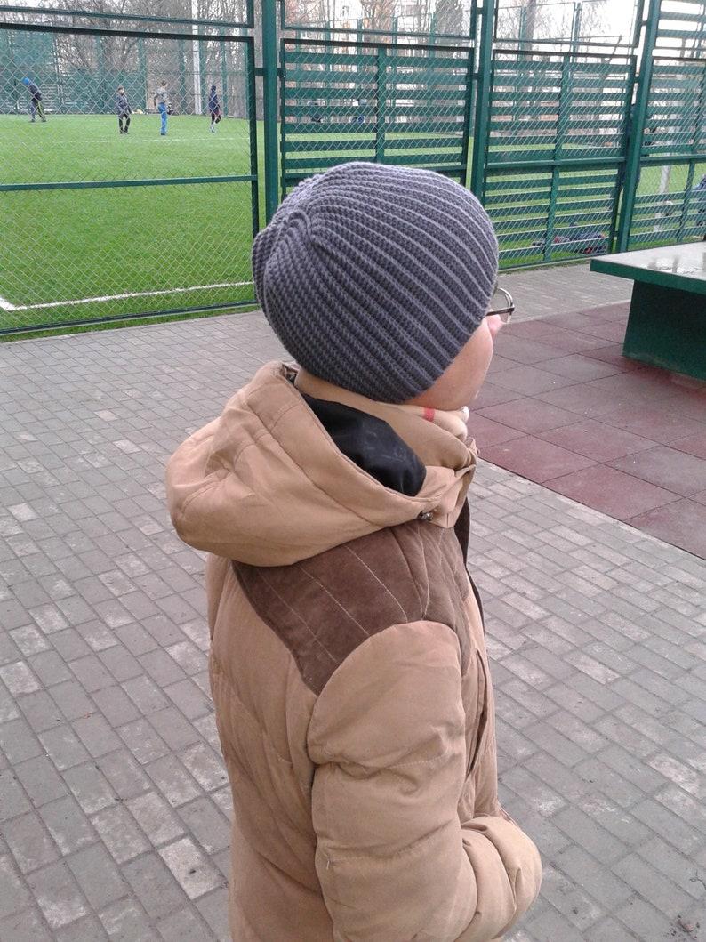 cc5c76b0dc8 Crochet hat men gray Knit hats for men Warm hat men Mens