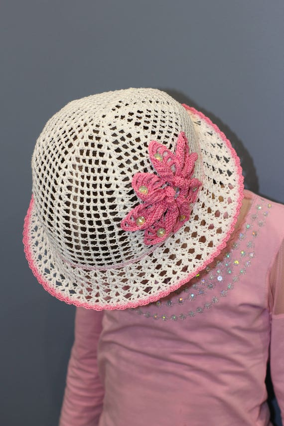 Cute Kids Summer Crochet Straw Beach Sun Hat With Flowers Apparel Accessories Girl's Accessories