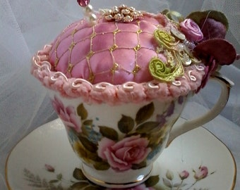 shabby teacup and saucer pincushion, pink roses pin cushion, unique pin cushion, hat pin pillow, keepsake