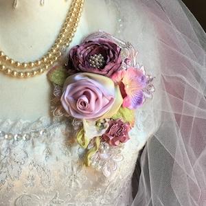 velvet rose pin gypsy rose brooch boho rose pin woodland rose pin velvet flowers ribbon rose brooch victorian corsage gift for mom,