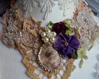 Victorian girl  portrait necklace, unique handmade necklace, vintage necklace, cameo choker, boho, statement necklace, textile art necklace
