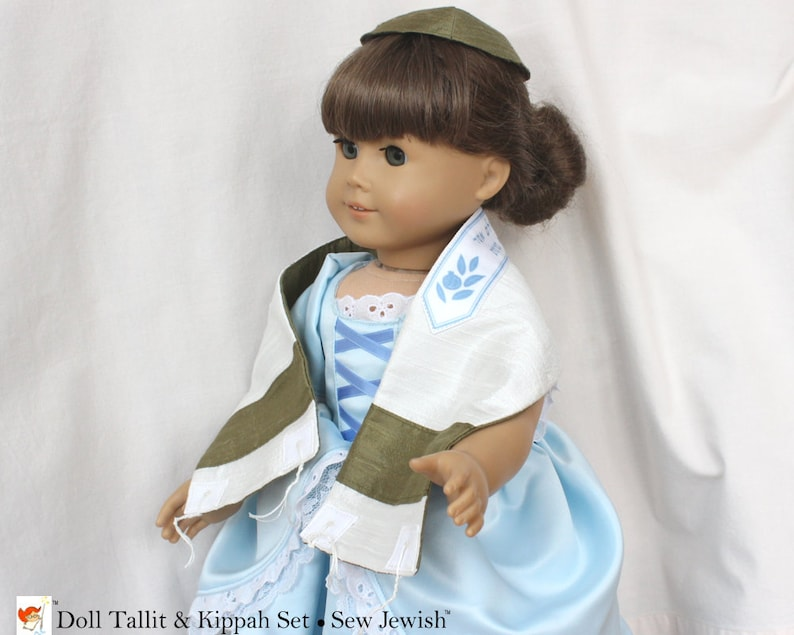Doll Tallit & Kippah Set  Silk Tallit  Gift Child Gift for image 0