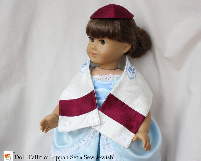 Doll Tallit & Kippah Set  Silk Tallit and Kippah  Birthday image 0