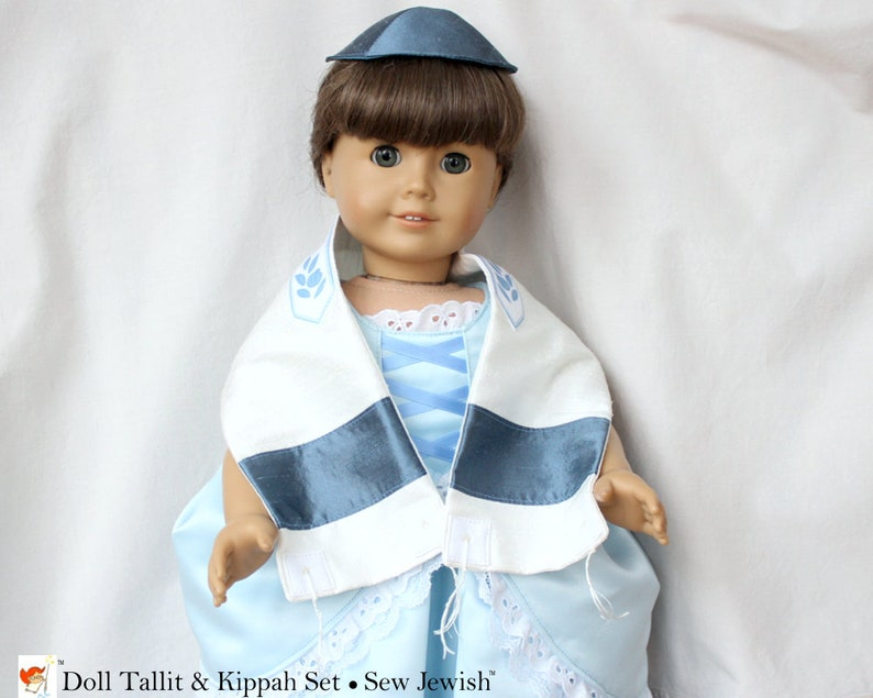 Doll Tallit & Kippah Set  Silk Tallit and Kippah  American image 0