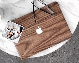 Macbook Wood Cover for Apple Mac Air Pro 11 12 13 15 16 inch - Real Natural Walnut Wood - Mac book Wood Veneer Skin Cover for Christmas gift