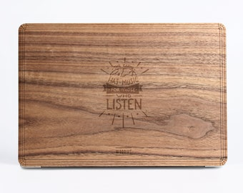 Earth has Music Wood Case - Walnut Wood Cover for Apple Mac Air Pro 11 12 13 15 inch  - Mac Skin - Mac Sticker - Mac Cover Mac Case for gift