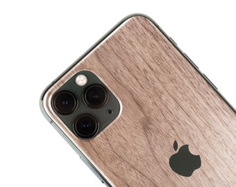 Real Wood Iphone Skin, zero waste Natural Phone Sticker, Walnut Wood back cover for iPhone 5 / 6 / 7 / 8 / X / 11 / Pro / Max / Plus / SE