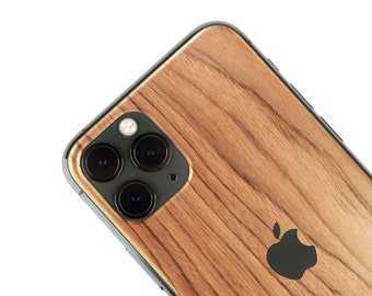 Real Wood Iphone Skin, zero waste Natural Phone Sticker, Teak Wood back cover for iPhone 5 / 6 / 7 / 8 / X / 11 / Pro / Max / Plus / SE