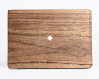 White/Black Sun Wood Case - Walnut Wood Cover for Apple Mac Air Pro 11 12 13 15 inch  - Mac Skin - Mac Sticker - Mac Cover Mac Case for gift