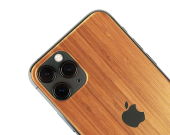 Real Wood Iphone Skin, zero waste Natural Phone Sticker, Bamboo Wood back cover for iPhone 5 / 6 / 7 / 8 / X / 11 / Pro / Max / Plus / SE