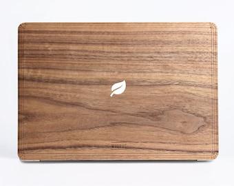 White/Black Leaf Wood Case - Walnut Wood Cover for Apple Mac Air Pro 11 12 13 15 inch  - Mac Skin - Mac Sticker Mac Cover Mac Case for gift