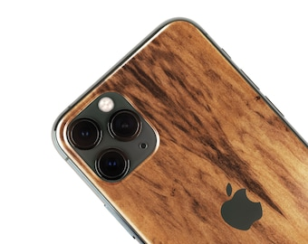 Real Wood Iphone Skin, zero waste Natural Phone Sticker, Imbuia Wood back cover for iPhone 5 / 6 / 7 / 8 / X / 11 / Pro / Max / Plus / SE