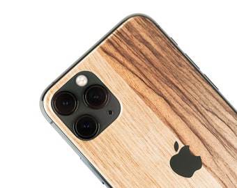 Real Wood Iphone Skin, zero waste Natural Phone Sticker, Black Frake Wood back cover for iPhone 5 / 6 / 7 / 8 / X / 11 / Pro / Max / Plus SE