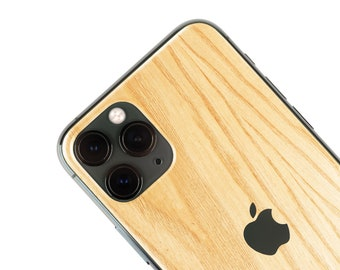 Real Wood Iphone Skin, zero waste Natural Phone Sticker, Ash Wood back cover for iPhone 5 / 6 / 7 / 8 / X / 11 / Pro / Max / Plus / SE