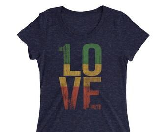 3c05b2dbd69 1 Love Reggae Roots Rock Ladies  short sleeve t-shirt Rasta One Love