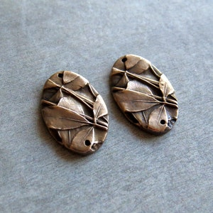 Plant Earrings Leaf Woodland Jewelry Links Organic Patina Charms Leaf Pendant Artisan Findings Handmade Bronze Rustic Findings