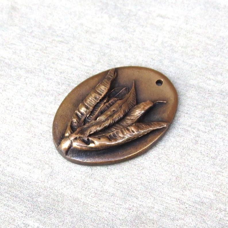 Plant Earrings Handmade Bronze Rustic Findings Artisan Findings Organic Patina Charms Leaf Woodland Jewelry Links Flower Pendant