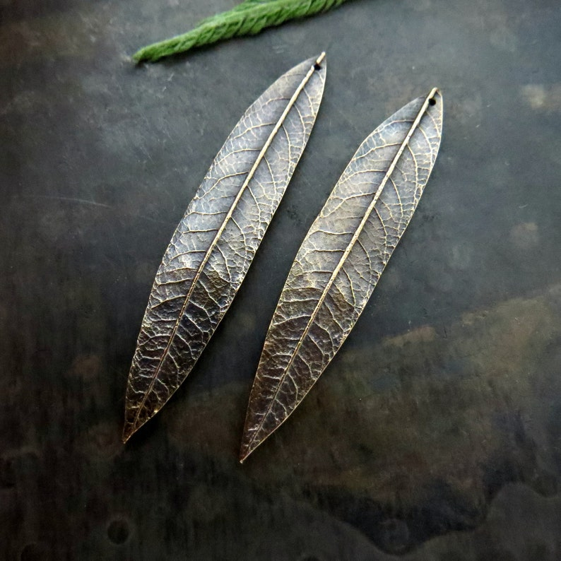 Organic Patina Charms Handmade Bronze Rustic Findings Leaf Woodland Jewelry Links Patina Beads Artisan Findings