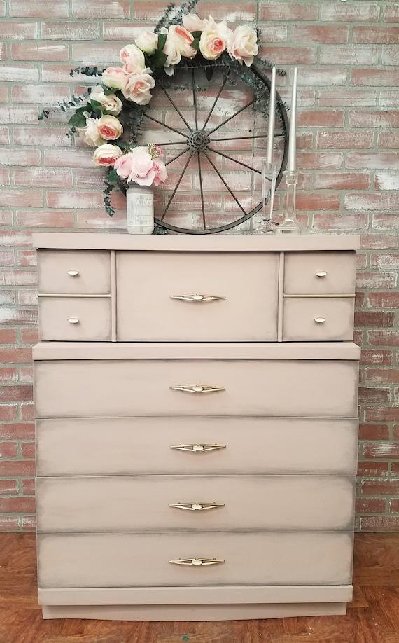 mid century modern dresser, mcm dresser, painted furniture, chalk painted  dresser, painted dresser