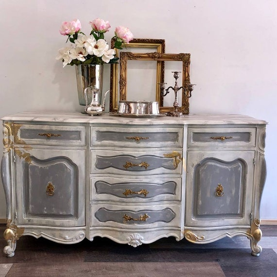Painted Furniture French Provincial Buffet Farmhouse Style Etsy