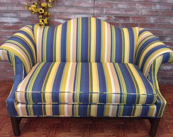 vintage loveseat, Ethan Allen loveseat, reupholstered sofa, camelback sofa, vintage camelback loveseat,