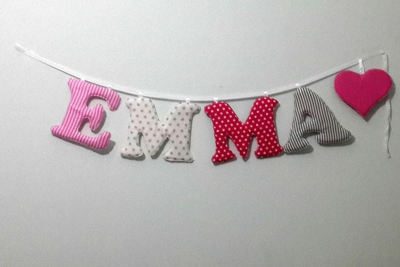 Emma Namen Banner Kinderzimmer Wand Buchstaben | Etsy