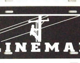 Black with White Vinyl Lineman License Plate